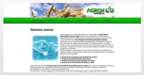 Diseño de sitio web para Agrox Ingeniería