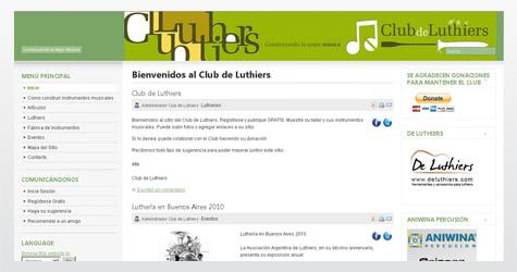 Diseño de sitio web para el Club de Luthiers