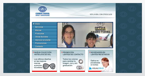 Diseño de sitio web para Optica Campo Visual