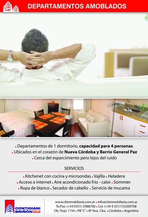 Diseño gráfico de folletos para departamentos amoblados de Contigiani Briñón Bienes Raíces